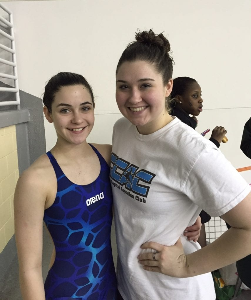 Payton Woodring (left) is pictured with her sister, Gilmer High School swimmer Kaylin Woodring. Payton competed in the 2016 Georgia Age Group State Championships last weekend at Georgia Tech and left a significant mark on the event. (Photo courtesy of Amy Woodring).