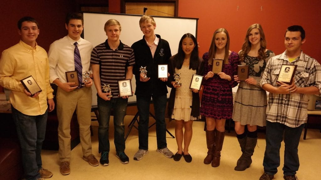 Pictured are the 2015-16 Gilmer High School swim team award winners. From left to right are James Maxwell, State Qualifier Award; Evan Minter, Team Choice and State Qualifier Awards; David Brown, Leadership, Senior and State Qualifier Awards; Landon Bryan, Most Improved and State Qualifier Awards; Grace Pleasant, Team Spirit and State Qualifier Awards; Leila Farist, State Qualifier Award; Rowe Fowler, State Qualifier Award; Brandon Byess, Senior Swimmer Award. Not pictured: Kaylin Woodring, State Qualifier Award. (Photo by: Kevin Hensley)