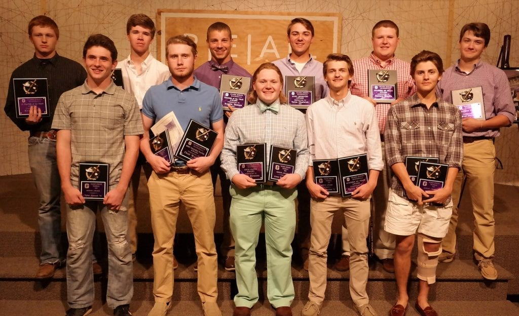 Pictured in this photo are the award winners. Front row (left to right) are: Tyler Jarrard, Senior Award; Chad Watkins, Senior and MVP Awards; Avery Sirmans, Senior and Gold Glove Awards; Dylan Hatcher, Senior and 12th Grade Academic Awards; Noah Ralston, Senior and Iron Cat Awards. Back row (left to right) are: Koby Allen, Junior Varsity Player of the Year Award; Drew Healan, Points Chart Leader, Silver Slugger and 11th Grade Academic Awards; Austin Daman, Pitcher of the Year Award; Tatum Chadwick, Most Improved Player of the Year Award; Garrett Martin, 10th Grade Academic Award; Will Barnes, Coaches Award.  (Photo by: Kevin Hensley)