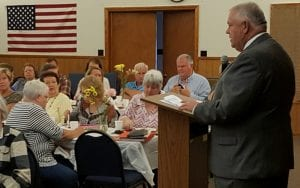 Speaker David Ralston offers comments to the Gilmer Retired Teachers Group about the State's progress in Education and Growth.