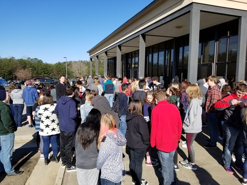 "Students gather in front of GHS for a ""Walk-out"" on March 14, 2018."