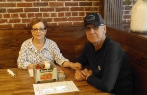 Ann and Bob, l to r, were the first seated table of Ellijay's new location for the Cantaberry Restaurant, visiting from Young Harris.
