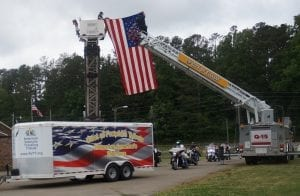 The American Veteran's Traveling Tribute memorial wall arived in Ellijay, Ga escorted by riders of the American Legion Rider Post 82 and Post 49.