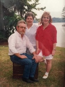 Paige Green, right, grew up in Eufaula, Alabama with her parents, John, left, and Ellen, middle, Green.