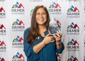 Tiffany Camp Watson, recipient of the Gilmer Chamber Member of the Year Award for 2019.
